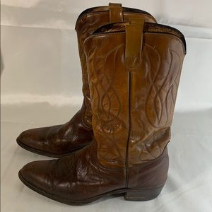 Wrangler Brown Leather Cowboy Boots Size 9.5